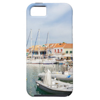 Greek harbor with sailing boats in Fiskardo iPhone 5 Cover