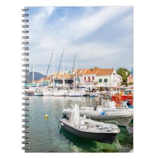 Greek harbor with sailing boats in Fiskardo Notebooks