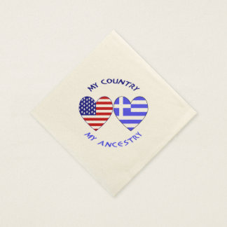 Greek Heart Flag Country Ancestry Disposable Napkin