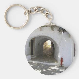 Greek Island Basic Round Button Keychain