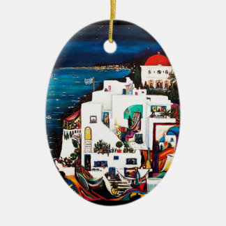 Greek Island Dreams Ceramic Oval Ornament