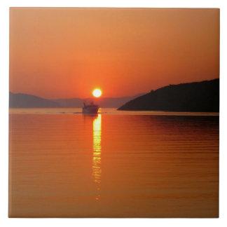 Greek Island Sunset Photo Tile