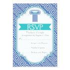 Greek key and aqua, blue column wedding RSVP Card