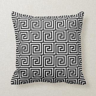 Greek Key, black and white Throw Pillow