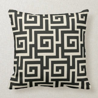 Greek Key Black Throw Pillow