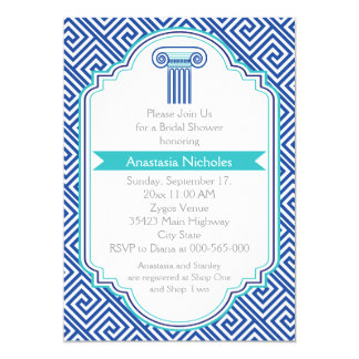Greek key & blue column wedding bridal shower card