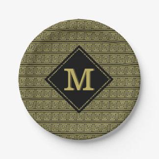 Greek Key Classic Design In Gold & Black Paper Plate