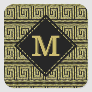 Greek Key Classic Design In Gold & Black Square Sticker