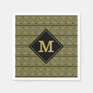 Greek Key Classic Design In Golds & Black Disposable Napkins