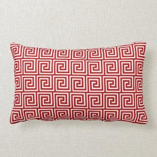 Greek Key, deep red and white Lumbar Pillow