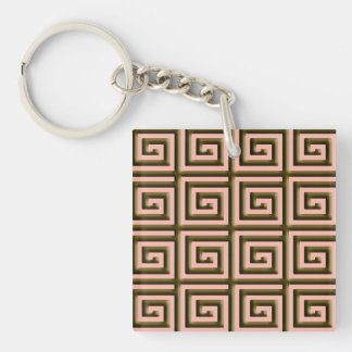 Greek Key design - chocolate brown on coral Double-Sided Square Acrylic Keychain