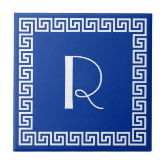 Greek Key Design Monogram Tile