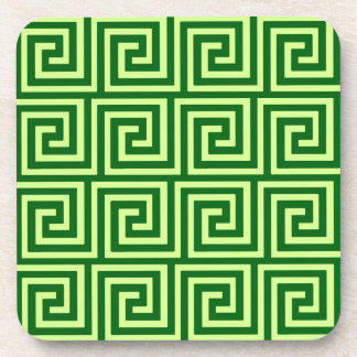 Greek Key, emerald green and lime Drink Coaster