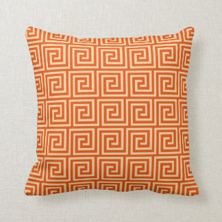 Greek Key, mandarin orange Throw Pillow