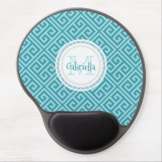Greek Key Mermaid Blue Monogram Mouse Pad