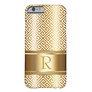 Greek Key Monogram CHOOSE YOUR COLOR | gold foil Barely There iPhone 6 Case