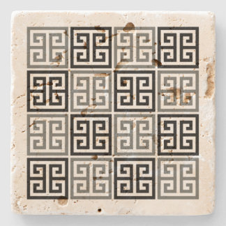Greek Key Motif Stone Coaster