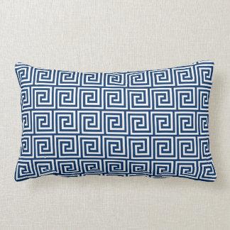 Greek Key, navy blue and white Lumbar Pillow