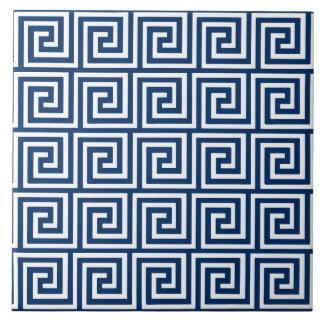 Greek Key, navy blue and white Tile