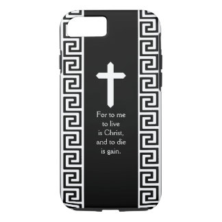 Greek Key Pattern with Cross and Custom Scripture iPhone 7 Case