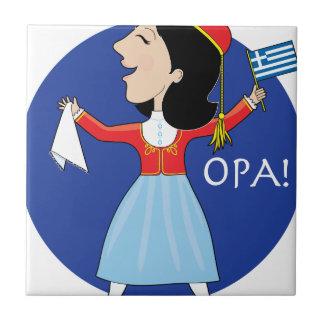 Greek Lady Dancing Tiles