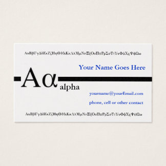 Greek Letter Alpha Custom Design Business Card