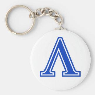 Greek Letter Lambda Blue Monogram Initial Basic Round Button Keychain
