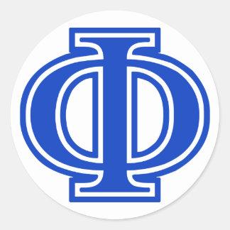 Greek Letter Phi Blue Monogram Initial Classic Round Sticker
