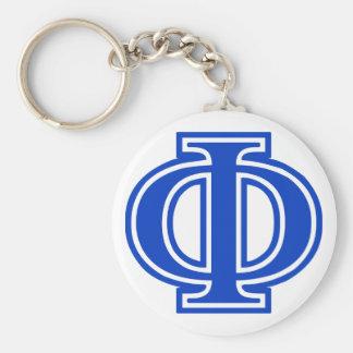 Greek Letter Phi Blue Monogram Initial Basic Round Button Keychain