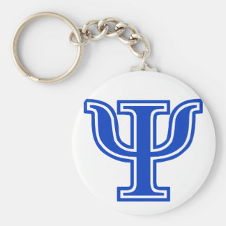 Greek Letter Psi Blue Monogram Initial Basic Round Button Keychain