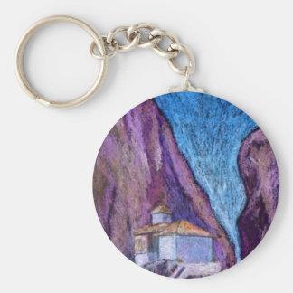 Greek Monastery Basic Round Button Keychain
