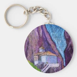 Greek Monastery Modern Art Custom Key Chain