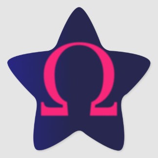 Greek Omega in Pink #3 Star Sticker