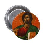 GREEK ORTHODOX ICON JESUS CHRIST 2 INCH ROUND BUTTON