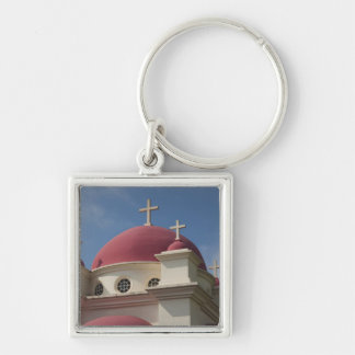 Greek Orthodox Monastery 2 Silver-Colored Square Keychain
