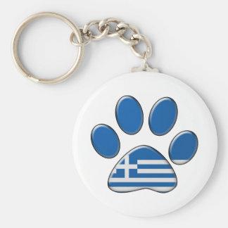 Greek patriotic cat basic round button keychain