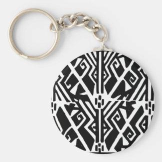 Greek Pattern Basic Round Button Keychain