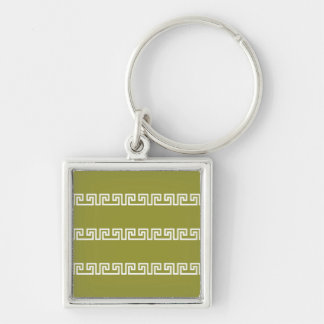 Greek Pattern key chain, customizable Silver-Colored Square Keychain