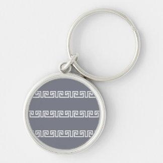Greek Pattern key chain, customizable Silver-Colored Round Keychain