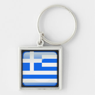 Greek polished Silver-Colored square keychain