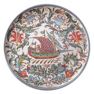 Greek Pottery Folk Art Replica Small Boat 2 Plate