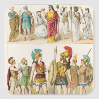 Greek Religious and Military Dress Square Sticker