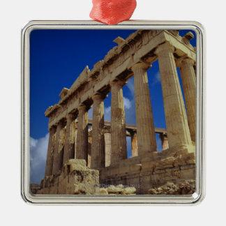 Greek ruins, Acropolis, Greece Silver-Colored Square Ornament