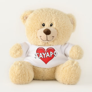 Greek S'ayapo I Love You Red Heart Teddy Bear