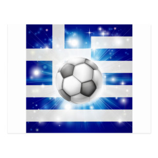 Greek soccer flag postcard
