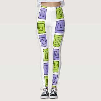 Greek Spiral - periwinkle-lime vertical BIG Leggings
