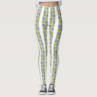 Greek Spiral - periwinkle-lime vertical Leggings