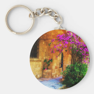 Greek stone house - old wooden door Bougainvillea Basic Round Button Keychain