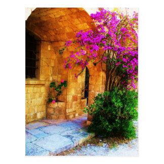 Greek stone house - old wooden door Bougainvillea Postcard