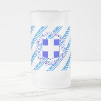 Greek stripes flag frosted glass beer mug